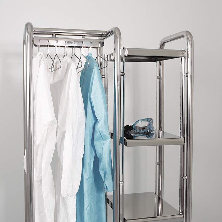 Cleanroom hangers shelves