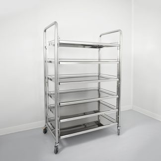 Cleanroom shelves are designed to store cleanroom supplies and cleaning materials